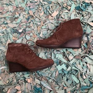 Suede Leather Tie Up Bootie